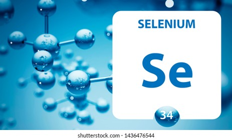 Selenium Se, chemical element sign. 3D rendering isolated on white background. Selenium chemical 34 element for science experiments in classroom science camp laboratory