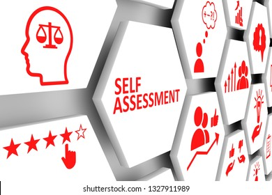 SELF ASSESSMENT concept cell background 3d illustration