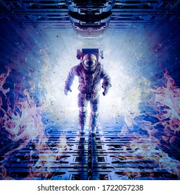 Self destruction initiated / 3D illustration of astronaut running to escape from exploding space station