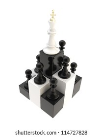 Self development conception: chess king at the top among multiple black and golden pawns isolated on white background