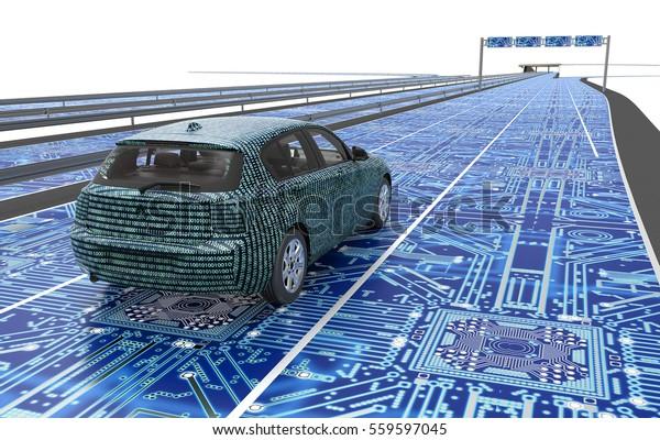 самовождение электронный компьютер автомобиль на дороге, 3d иллюстрация