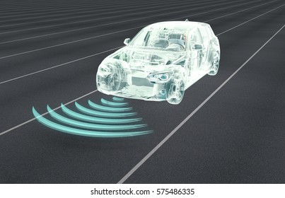 self driving electronic computer cars on road, 3d illustration