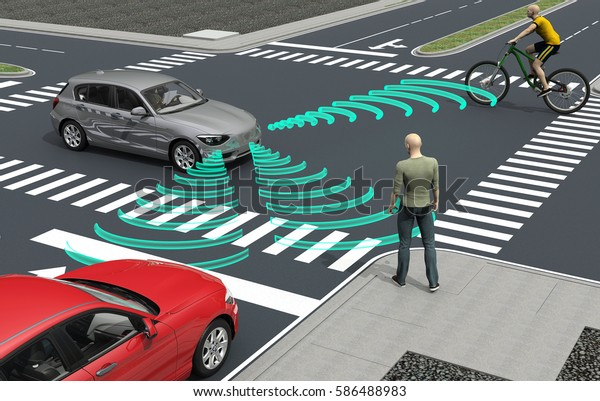 самовождение электронные компьютерные автомобили на дороге, 3d иллюстрация