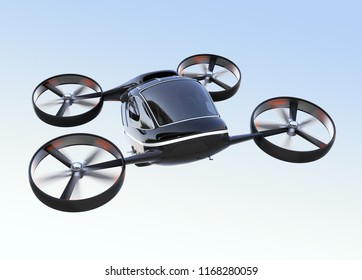 Self driving Passenger Drone flying in the sky. 3D rendering image.