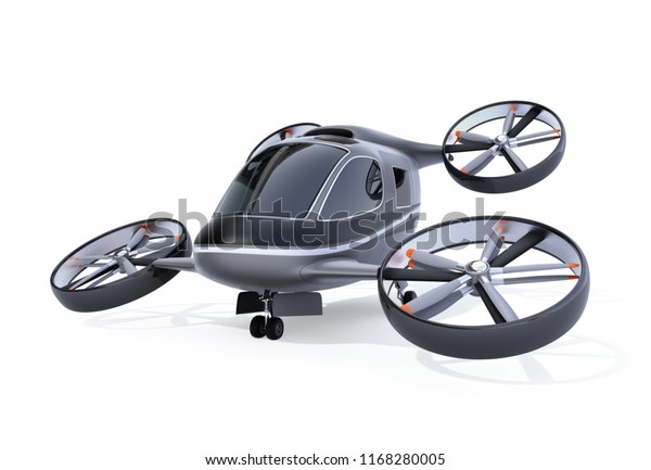 Self driving Passenger Drone isolated on white background. 3D rendering image.