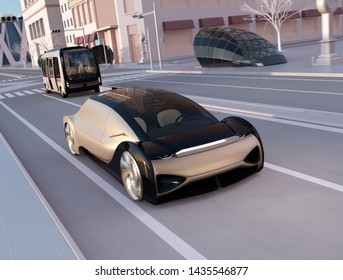 Self driving sedan driving fast on the road at sunset. Autonomous bus following the car. Ride sharing concept. 3D rendering image.
