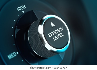 Self efficacy level button over black and blue background, conceptual image to illustrate efficiency or performance management.