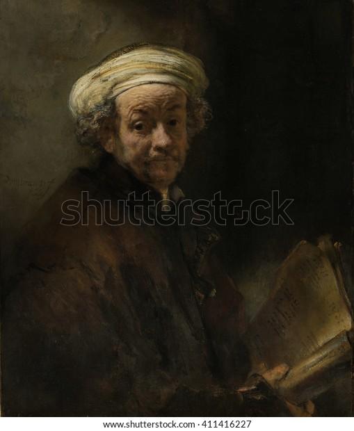 Self Portrait as the Apostle Paul, by Rembrandt van Rijn, 1661, Dutch painting, oil on canvas. Rembrandt's only self portrait as a biblical figure, represents the apostle Paul of Tarsus