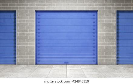 Self storage unit closed. 3d rendering