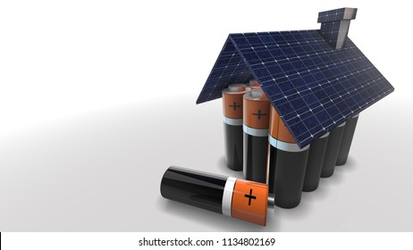 Self sufficient off the grid home powered by photovoltaic solar panel with battery storage for green clean renewable energy 3D render graphic