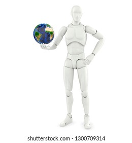 self-confident abstract person holding planet earth in one hand isolated on white background 3d illustration