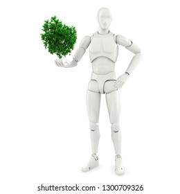 self-confident abstract person holding tree in one hand isolated on white background 3d illustration