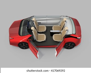 Self-driving car cutaway image. Left doors opened and front seats turned backward in meeting mode. 3D rendering image with clipping path.