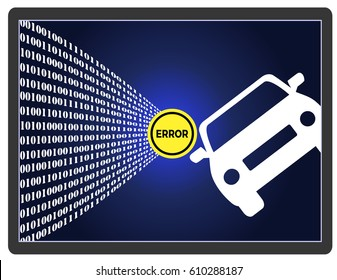 Self-Driving Car Error. Traffic accident of autonomous vehicle through software failures
