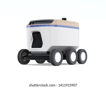 Self-driving delivery robot isolated on white background. 3D rendering image.