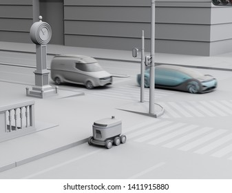 Self-driving delivery robot moving on the roadside. Clay rendering with soft texturing. 3D rendering image.