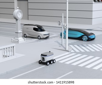 Self-driving delivery robot moving on the roadside. Delivery minivan and self-driving sedan passing the crossroad. 3D rendering image.