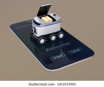 Self-driving delivery robot on smartphone. Cover opened waiting for picking up parcels. 3D rendering image.