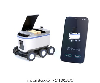 Self-driving delivery robot with top cover opened for pickup parcel. Smartphone on the right side showing delivery apps. 3D rendering image.