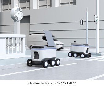 Self-driving delivery robots moving on the street. 3D rendering image.