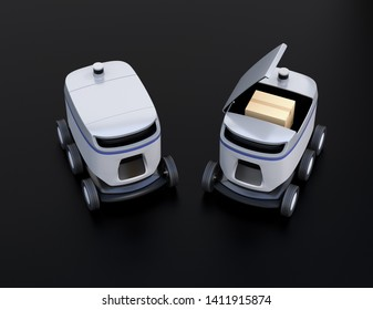Self-driving delivery robots on black background. One's cover opened for picking parcels. 3D rendering image.