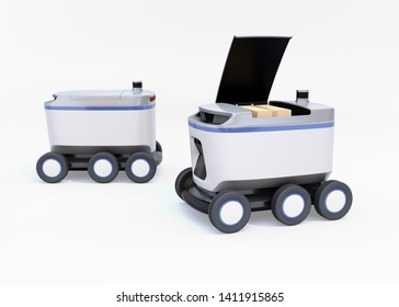 Self-driving delivery robots on white background. One's cover opened for picking parcels. 3D rendering image.