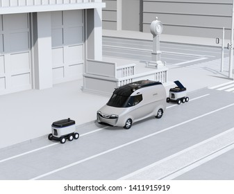 Self-driving delivery robots and delivery van on the street. 3D rendering image.