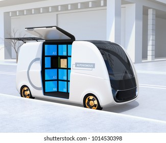 Self-driving delivery van's side door opened. User can pick up their parcels from the locker.  Automatic delivery system concept. 3D rendering image.