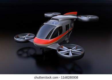 Self-driving Passenger Drone on black background. 3D rendering image.