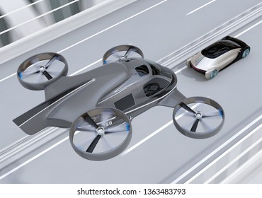 Self-driving Passenger Drone Taxi flying over an autonomous electric car driving on the highway. MaaS concept. 3D rendering image.