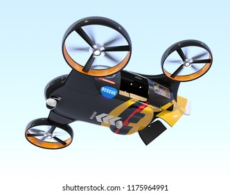 Self-driving Rescue Drone hovering in the sky with sliding door and rear hatch opened. Relief supplies in the drone waiting for drops. 3D rendering image.