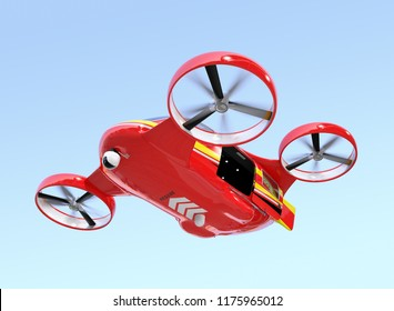 Self-driving Rescue Drone hovering in the sky with sliding door opened. 3D rendering image.