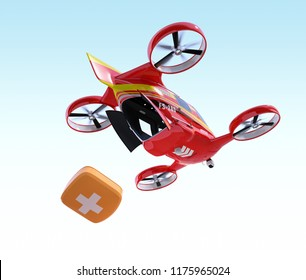 Self-driving Rescue Drone hovering in the sky and released first aid kit. 3D rendering image.