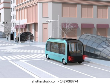 Self-driving shuttle bus driving through a intersection. A man waiting the bus in bus stop. 3D rendering image.