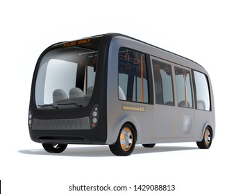 Self-driving shuttle bus isolated on white background. 3D rendering image.