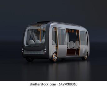 Self-driving shuttle bus on black background. 3D rendering image.