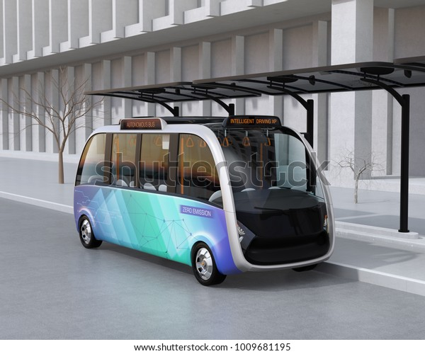 Self-driving shuttle bus waiting at bus station. The bus station equipped with solar panels for electric power. 3D rendering image.