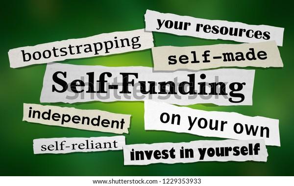 Self-Funding Newspaper Headlines New Business 3d Illustration
