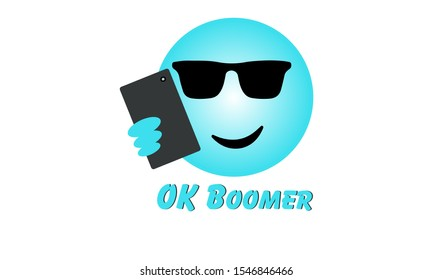 Selfie face emoji with OK Boomer text, generation z verses baby boomer social media expression and meme