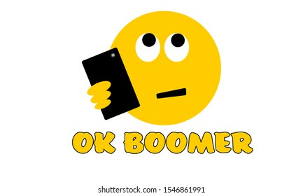 Selfie rolling eyes face emoji with OK Boomer text, generation z verses baby boomer social media expression and meme