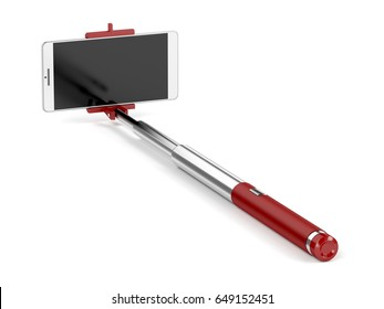 Selfie stick with mobile phone on white background, 3D illustration