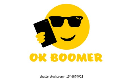 Selfie sunglasses face emoji with OK Boomer text, generation z verses baby boomer social media expression and meme