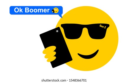 Selfie sunglasses face texting OK Boomer, generation z verses baby boomer social media expression and meme