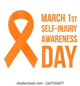 Self-injury Awareness Day poster. Bright orange ribbon.