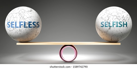 Selfless and selfish in balance - pictured as balanced balls on scale that symbolize harmony and equity between Selfless and selfish that is good and beneficial., 3d illustration