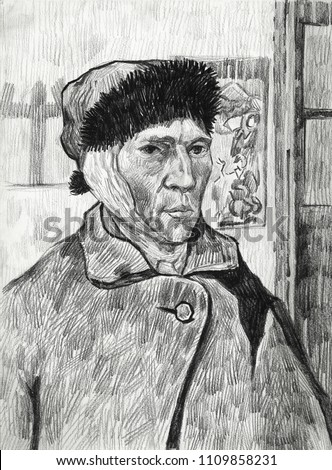 Selfportrait with Bandaged Ear Drawing