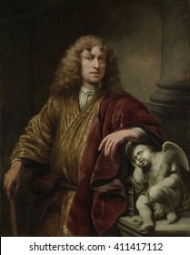 Self-Portrait, by Ferdinand Bol, 1669, Dutch painting, oil on canvas. Painted on the occasion of Bol's second marriage, the sleeping Cupid refers to chastity and elevated spiritual love