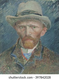 Self-portrait, by Vincent van Gogh, 1887, Dutch oil painting. He portrayed himself here as a fashionably dressed Parisian