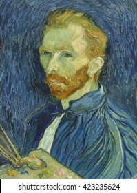 Self-Portrait, by Vincent van Gogh, 1889, Dutch Post-Impressionist painting, oil on canvas. He painted this when in asylum at St.-Remy, where he had committed himself following a mental breakdown. Af