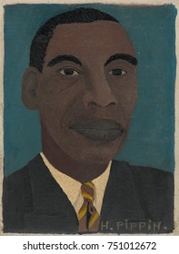 SELF-PORTRAIT II, by Horace Pippin, 1944, African-America painting, oil on canvas. This work is small, measuring only 8.5 x 6.5 inches. The self-taught artist achieved success and sold most of his 130